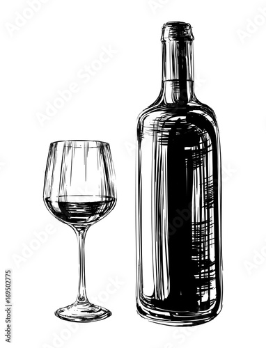 Hand Drawn Illustration Wine Glass and Bottle