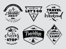 Labels Set Of Adventure And Nature Explore. Outdoors Camp And Wildlife. Vector Monochrome Illustrations