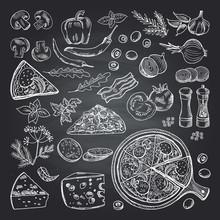 Illustrations Of Pizza Ingredi...