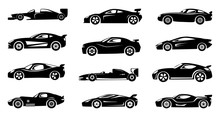 Black Silhouette Of Race Cars....