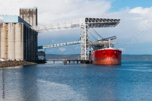 Bulk grain carrier ship at grain terminal, Tacoma, Washington Wallpaper Mural