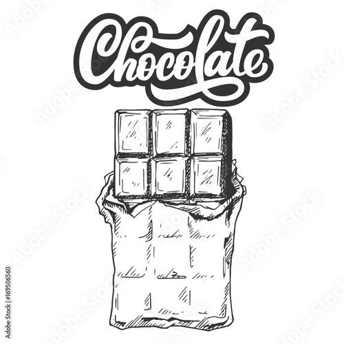 Hand drawn chocolate bar with custom lettering, black and ...