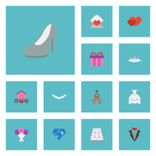 Flat Icons Brilliant, Present, Patisserie And Other Vector Elements. Set Of Ceremony Flat Icons Symbols Also Includes Gharry, Brougham, Gem Objects.