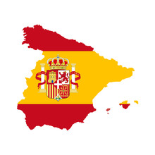 Spain Map With Spain Flag Inside