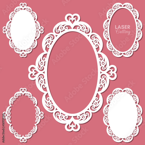 Laser cut vector frame collection with swirls and hearts, vector ...