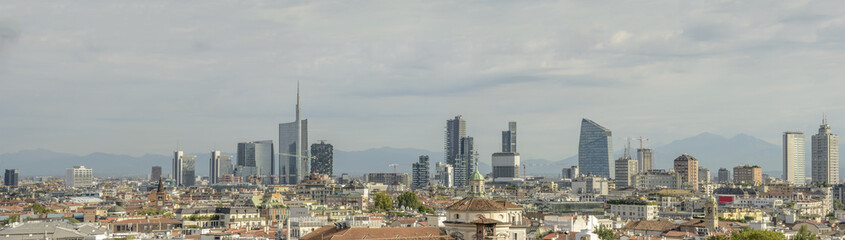 Panel Szklany business hub skyline from Cathedral roof, Milan, Italy
