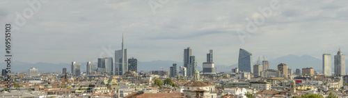 In de dag Milan business hub skyline from Cathedral roof, Milan, Italy