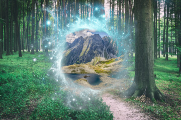 Magical portal between green forest and mountains