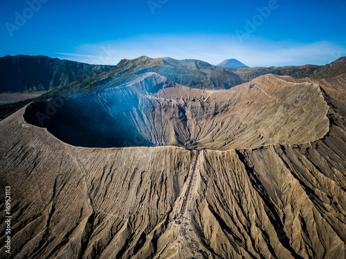 Mountain Bromo active volcano crater in East Jawa, Indonesia Fototapet