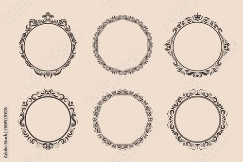 Valokuva  Decorative round vintage frames and borders set