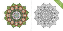 Antistress Coloring Page Mandala First