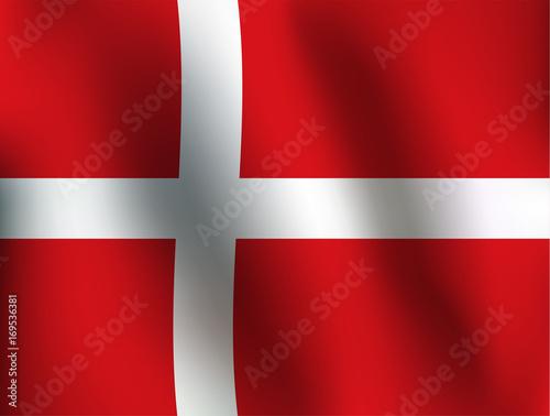 Photo  Flag of Denmark - Vector Illustration