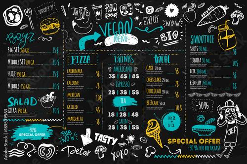 Fototapeta Vegan menu with hipster chef, doodle organic food and lettering. ecological concept on dark chalk board obraz