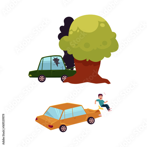 Keuken foto achterwand Cars vector flat car accident set. Green colored vehicle with cracked window glass, black smoke coming from hood crashed into the tree, car hit pedestrian. Isolated illustration on a white background.