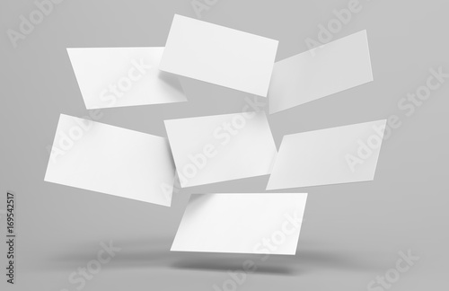 Fotografia, Obraz  Blank white 3d visiting card template 3d render illustration for mock up and design presentation