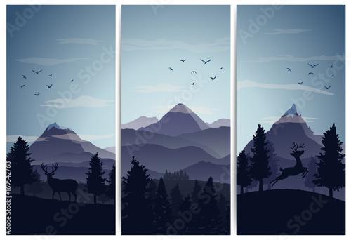Fototapeta tło z sylwetkami gór, zwierząt i drzew