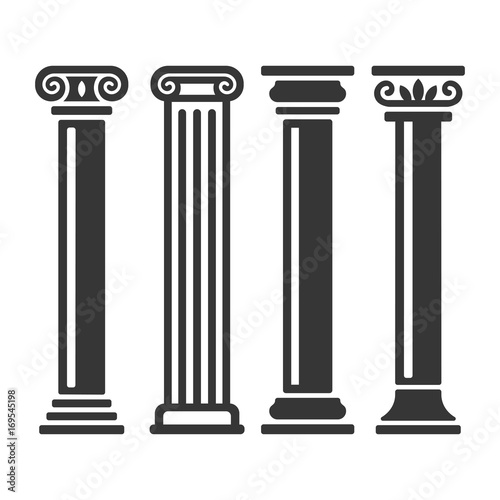 Ancient Columns Icon Set. Vector Wallpaper Mural