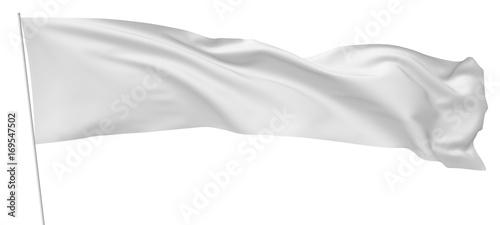 Fényképezés  Long white flag on flagpole flying in wind.
