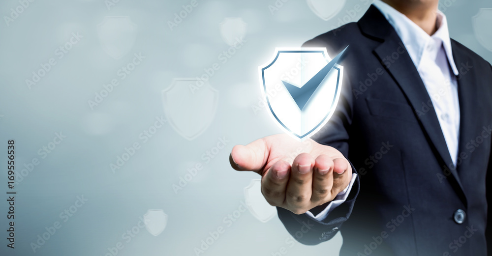 Fototapeta Businessman holding shield protect icon, Concept cyber security safe your data