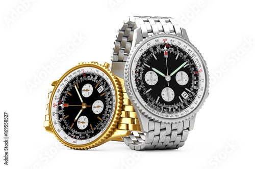 Luxury Classic Analog Men's Wrist Golden and Silver Watches Rendering. 3d Rendering
