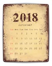 2018 Tin Plate Calendar October