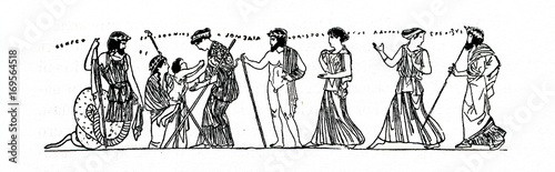Birth of Erichthonius: Athena receives the baby Erichthonius from the hands of Wallpaper Mural