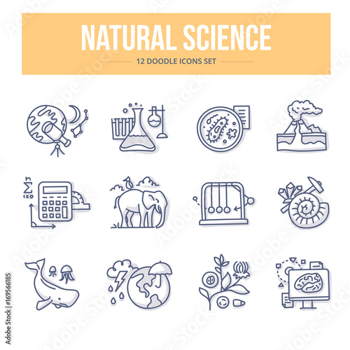Valokuvatapetti Natural Science Doodle Icons