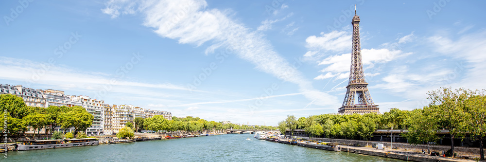 Fototapeta Landscape panoramic view on the Eiffel tower and Seine river during the sunny day in Paris