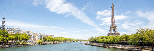 Tour Eiffel Landscape panoramic view on the Eiffel tower and Seine river during the sunny day in Paris