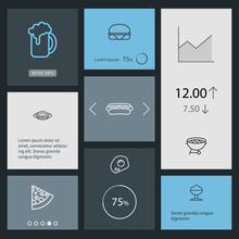 Set Of 8 Food Outline Icons Se...