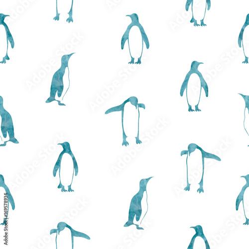 Materiał do szycia Wzór akwarela bezszwowe niebieskie pingwiny. Tło wektor.