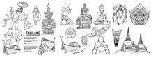 Thailand Travel Landmarks Set, Hand Draw Vector Illustration. Amazing Thailand