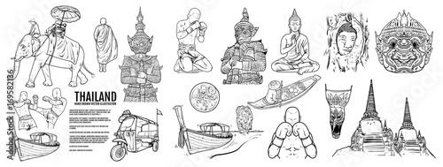 Thailand Travel Landmarks set, Hand draw Vector Illustration Fototapete