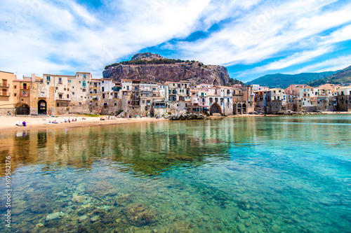 View of cefalu, town on the sea in Sicily, Italy