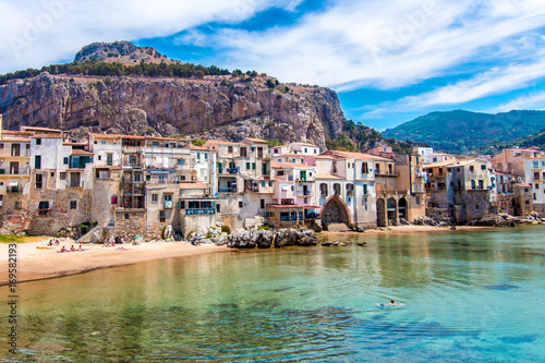 Keuken foto achterwand Palermo View of cefalu, town on the sea in Sicily, Italy