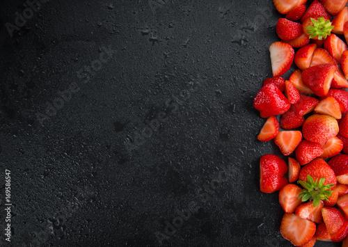 Portion of Chopped Strawberries on a slate slab