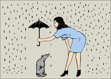 A Woman With Umbrella And A Dog