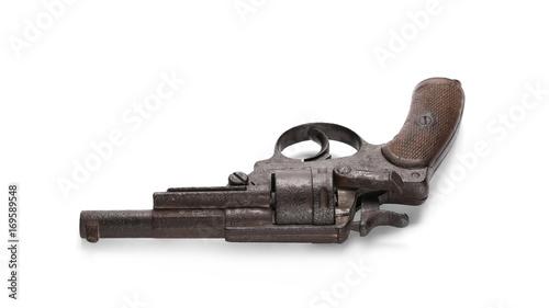 Old rusty Belgian Great War revolver, Nagant M1873, pistol