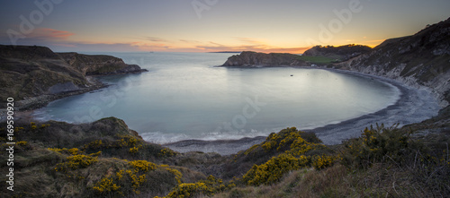 Lulworth Cove at sunset on the Jurassic Coast in Dorset. Canvas Print