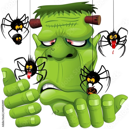 Deurstickers Draw Frankenstein Spiders Pets Cartoon