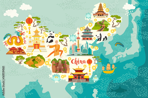 Cuadros en Lienzo  Illustrated map of China