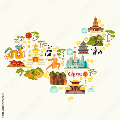 Fotomural  China landmarks, map silhouette
