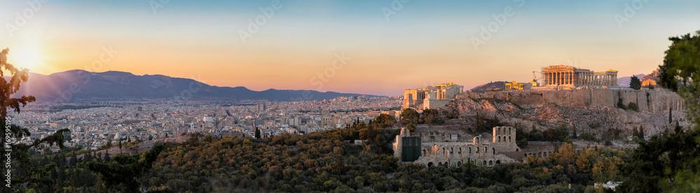 Fototapety, obrazy: Panorama von der Akropolis und der Skyline von Athen bei Sonnenuntergang, Griechenland
