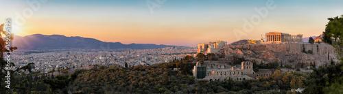 Photo Panorama von der Akropolis und der Skyline von Athen bei Sonnenuntergang, Griech