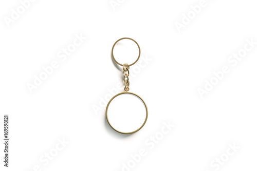 Clear Golden Circular Keychain Design Mockup Isolated Empty Plain Keyring Souvenir Holder Template Steel Circle Trinket Label