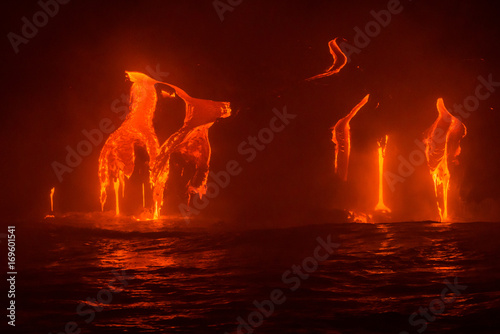 Poster Brown Lava Flowing Into the Pacific Ocean at Night, Big Island, Hawaii