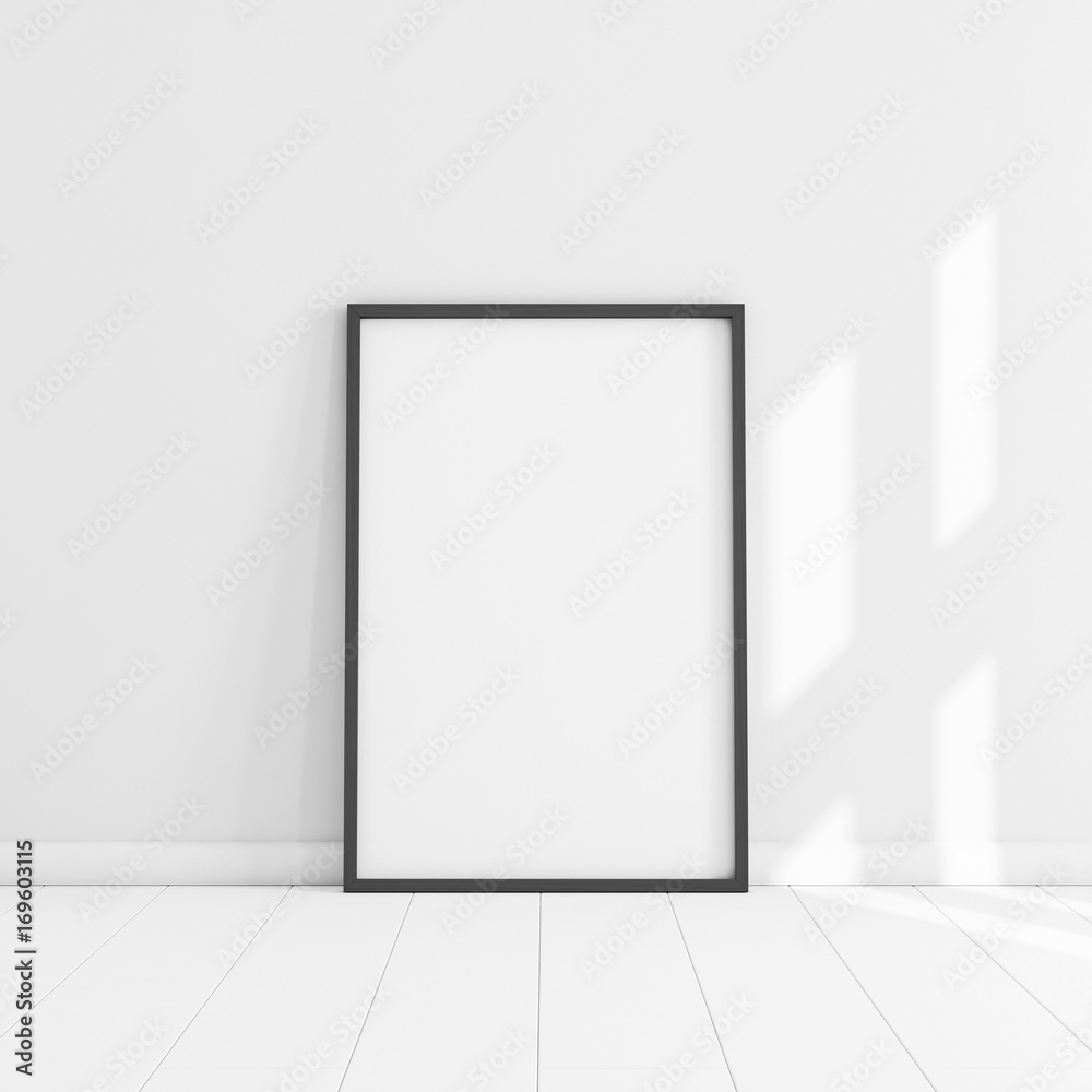 Fototapeta White poster with black frame mockup illustration