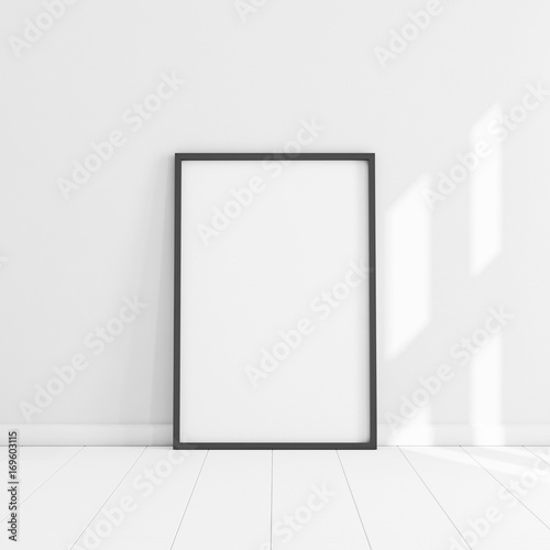 White poster with black frame mockup illustration Wall mural