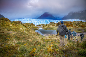 Patagonia, travel background with glaciers and mountains background