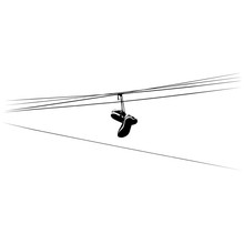 Shoe Tossing. Sneakers On Power Lines. Vector